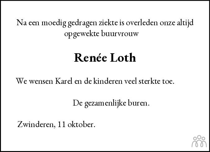 Overlijdensbericht van Renée Loth-Klein in Dagblad Noord Noord-Holland