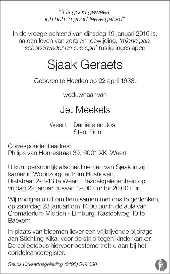 Sjaak Geraets overlijdensbericht en condoleances ...