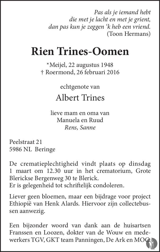 Overlijdensbericht van Rien Trines - Oomen in De Limburger