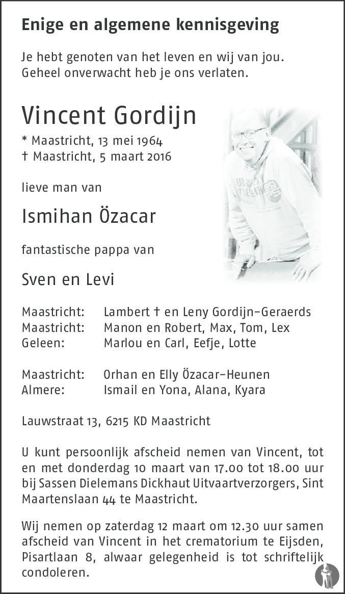Vincent Gordijn ✝ 05-03-2016 overlijdensbericht en condoleances ...