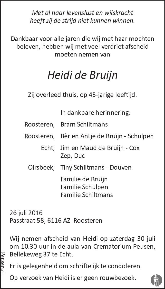 De Bruyn Koeriers.Heidi De Bruijn 26 07 2016 Overlijdensbericht En Condoleances