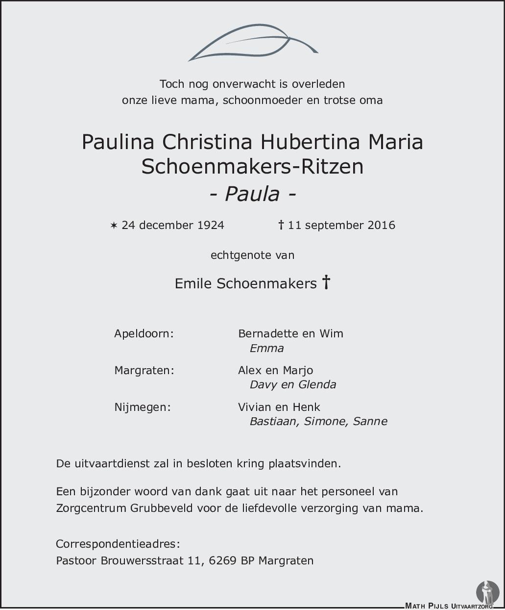 paulina christina hubertina maria paula schoenmakers ritzen 11 09 2016 overlijdensbericht en. Black Bedroom Furniture Sets. Home Design Ideas