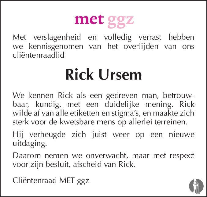 Overlijdensbericht van Rick Ursem in De Limburger