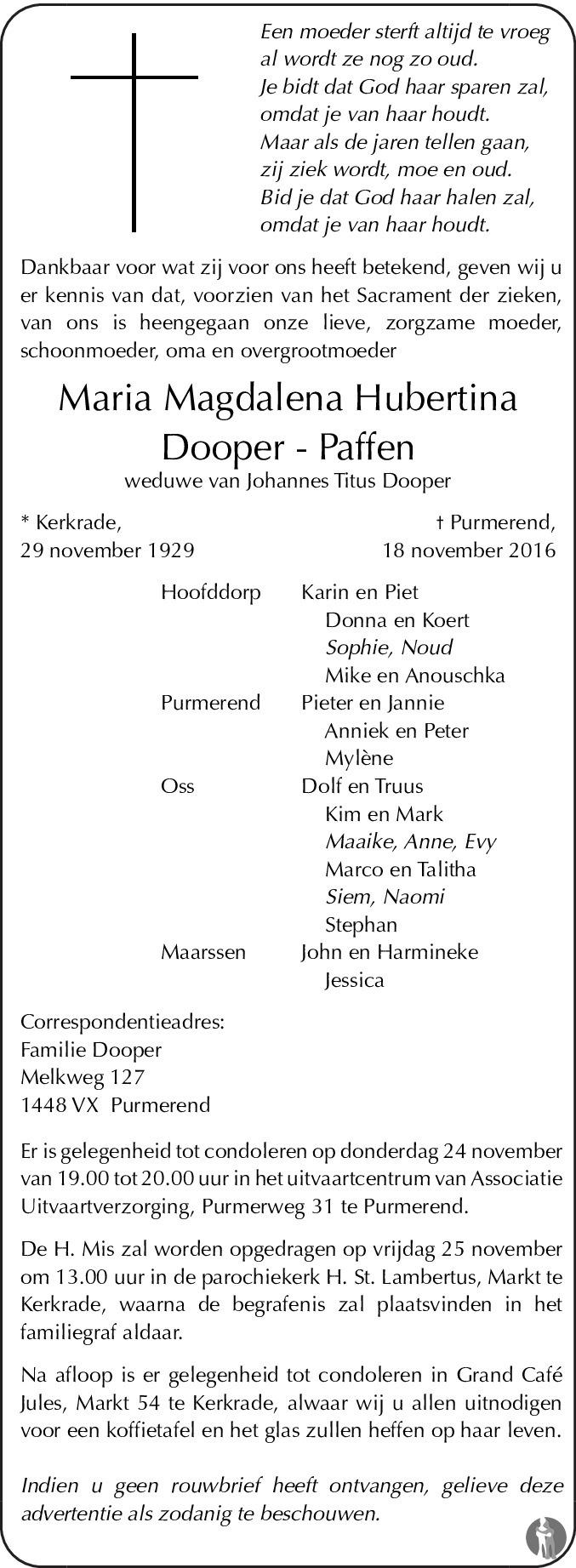 Overlijdensbericht van Maria Magdalena Hubertina Dooper - Paffen in De Limburger