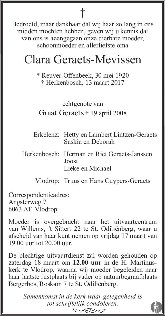 Clara Geraets - Mevissen 13-03-2017 overlijdensbericht en ...