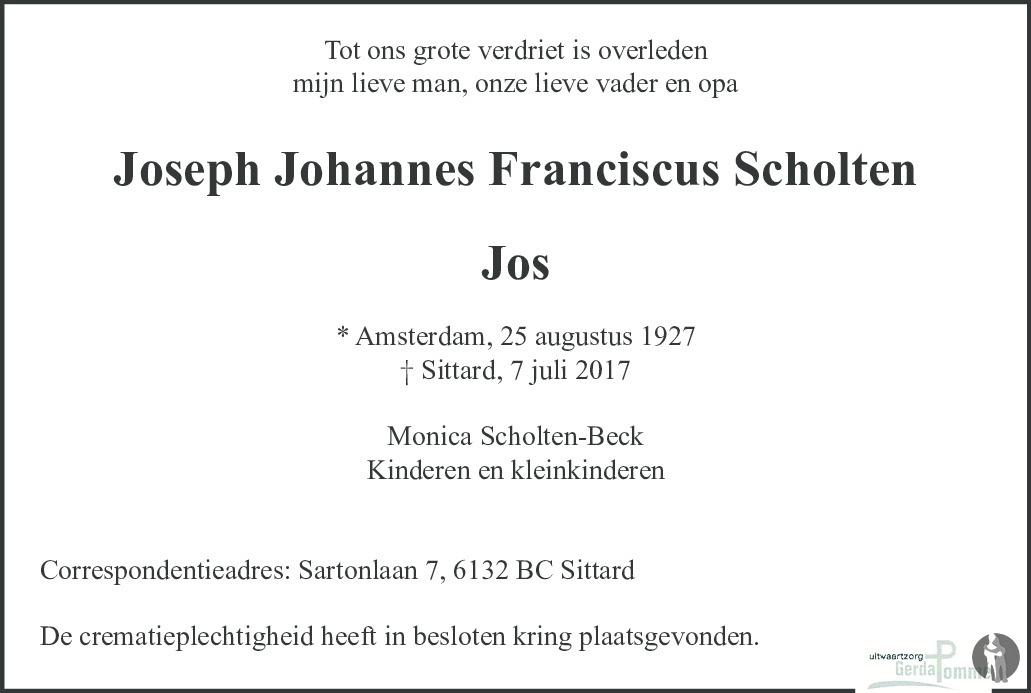 Overlijdensbericht van Joseph Johannes Franciscus (Jos) Scholten in De Limburger