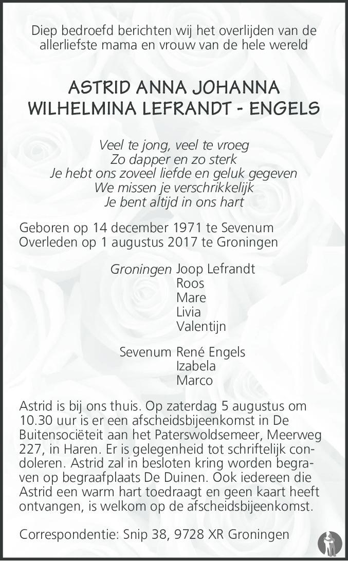 Uitzonderlijk Astrid Anna Johanna Wilhelmina Lefrandt - Engels ✝ 01-08-2017  NX-92