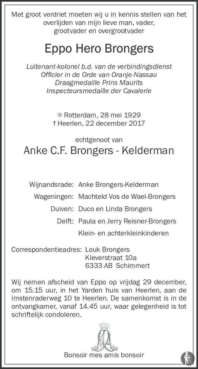 Overlijdensbericht van Eppo Hero Brongers in De Limburger