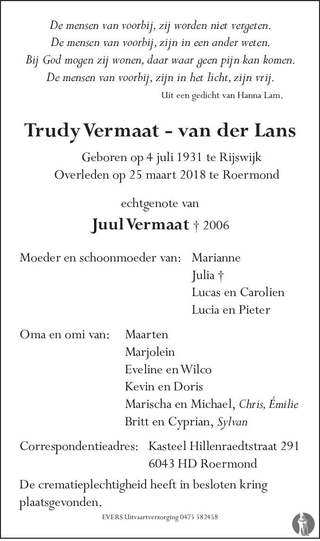 Trudy Vermaat Van Der Lans 25 03 2018