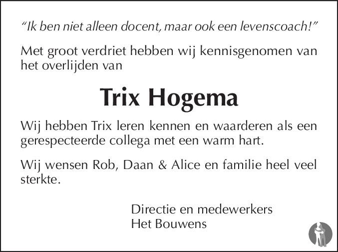 Betere Trix Hogema ✝ 24-04-2018 overlijdensbericht en condoleances AR-09