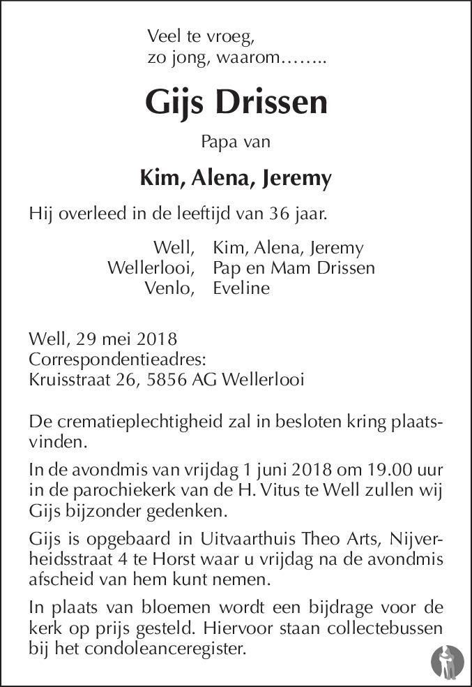 Gijs Drissen 29-05-2018 overlijdensbericht en condoleances