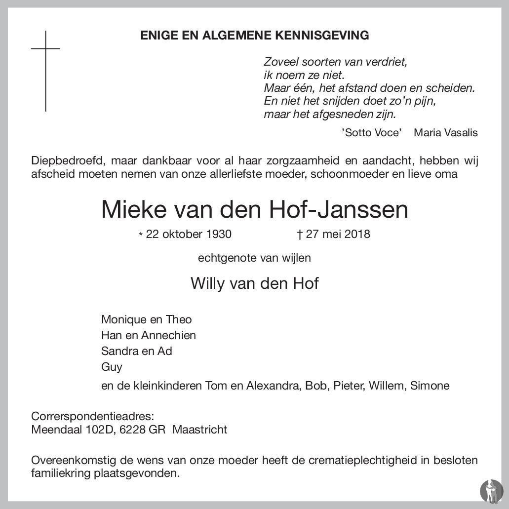 Mieke Van Den Hof Janssen 27 05 2018 Overlijdensbericht