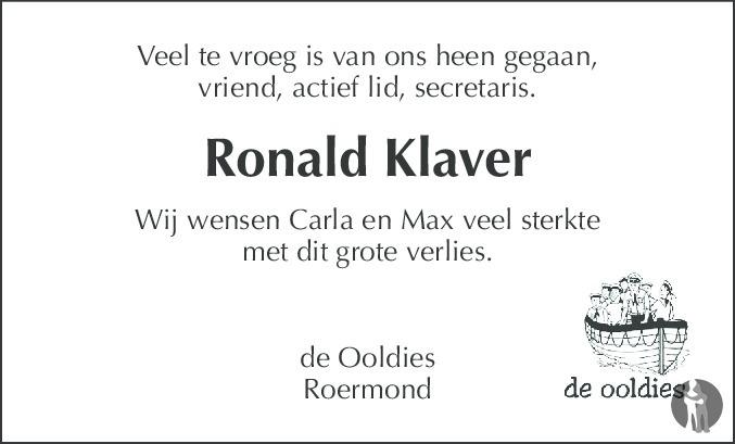 Overlijdensbericht van Ronald Ivo Maria Klaver in De Limburger