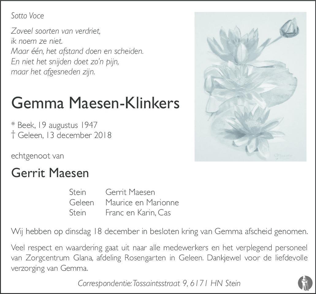 Gemma Maesen Klinkers 13 12 2018 Overlijdensbericht En