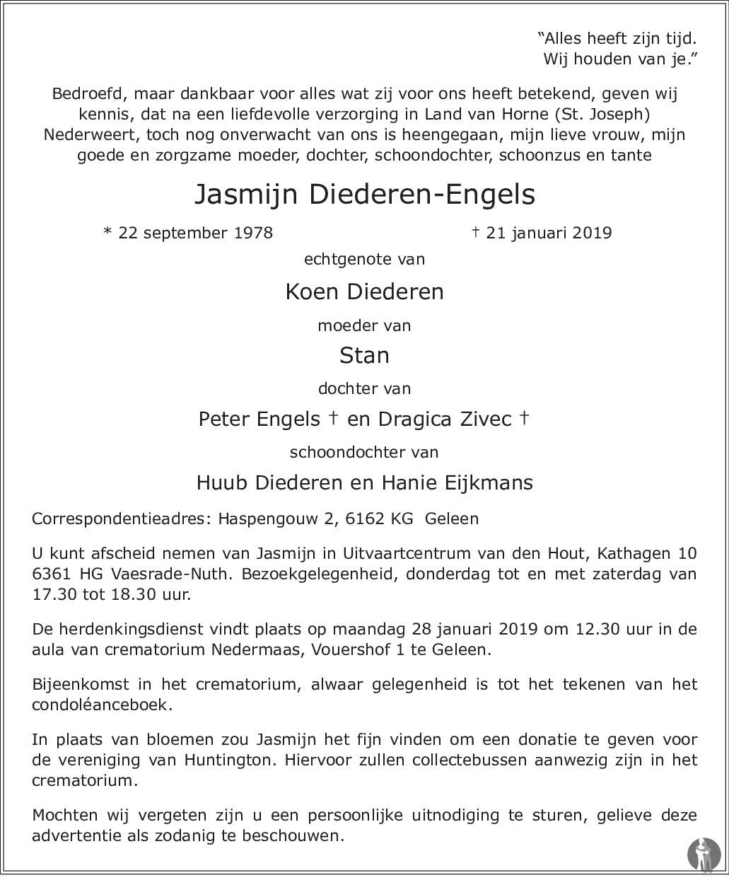 Jasmijn Diederen Engels 21 01 2019 Overlijdensbericht