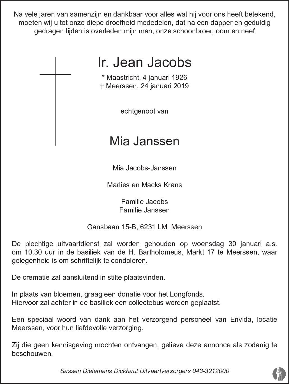 Ir Jean Jacobs 24 01 2019 Overlijdensbericht En Condoleances