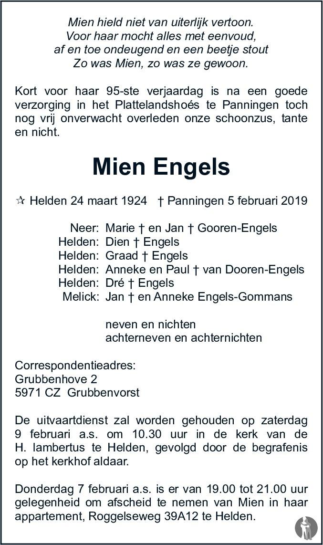 Mien Engels 05 02 2019 Overlijdensbericht En Condoleances