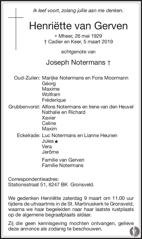 Overlijdensbericht van Henriëtte Notermans - van Gerven in De Limburger