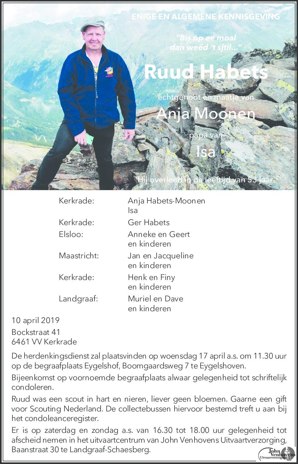 Overlijdensbericht van Ruud Habets in De Limburger