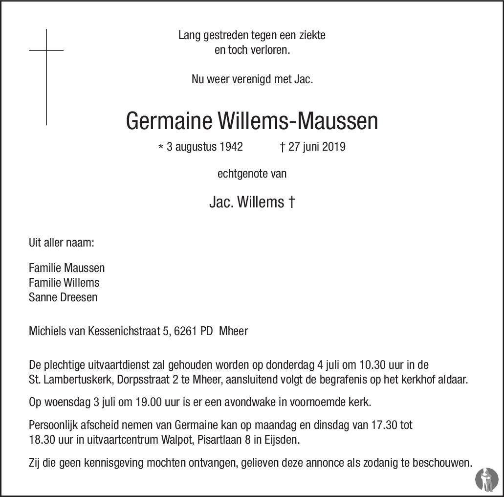 Overlijdensbericht van Germaine Willems - Maussen  in De Limburger