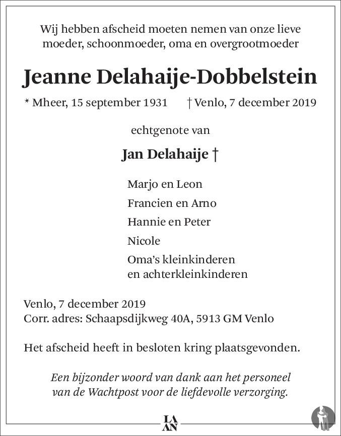 Overlijdensbericht van Jeanne Delahaije - Dobbelstein in De Limburger