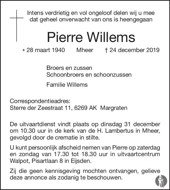 Overlijdensbericht van Pierre Willems in De Limburger