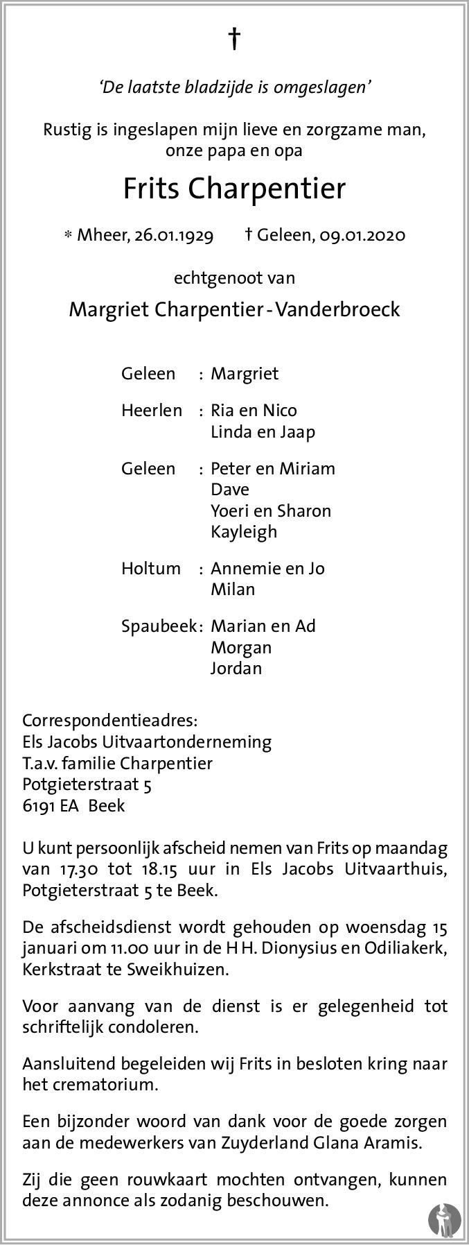 Overlijdensbericht van Frits Charpentier in De Limburger