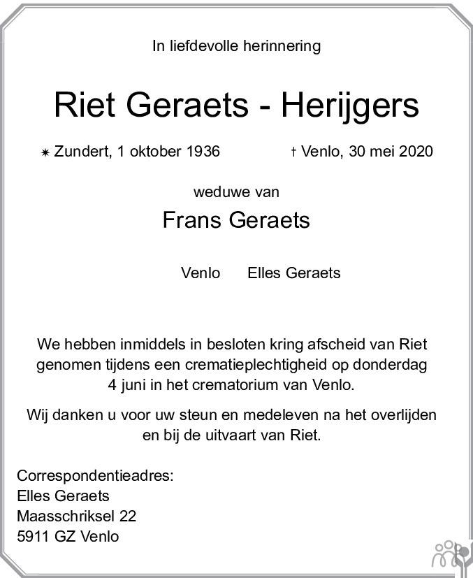 Overlijdensbericht van Riet Geraets-Herijgers in De Limburger