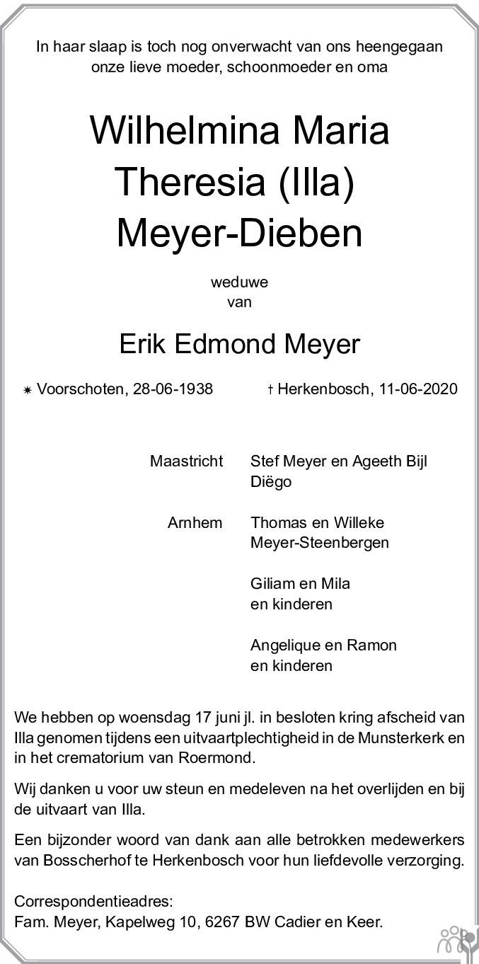 Overlijdensbericht van Wilhelmina Maria Theresia (Illa) Meyer-Dieben in De Limburger