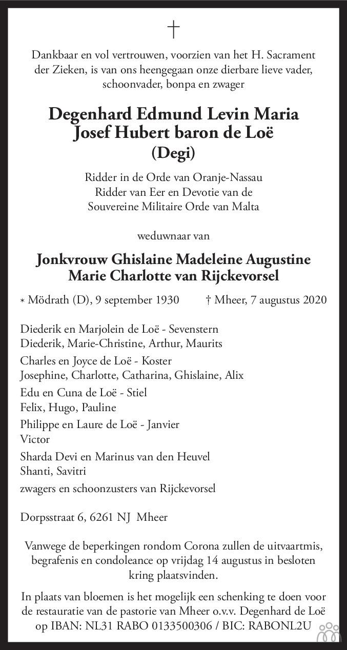 Overlijdensbericht van Degenhard Edmund Levin Maria Josef Hubert baron de Loë in De Limburger