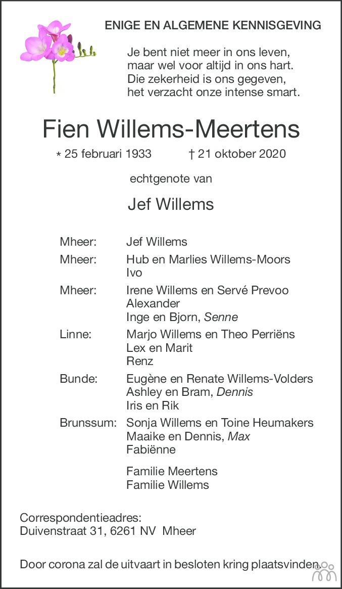 Overlijdensbericht van Fien Willems-Meertens in De Limburger