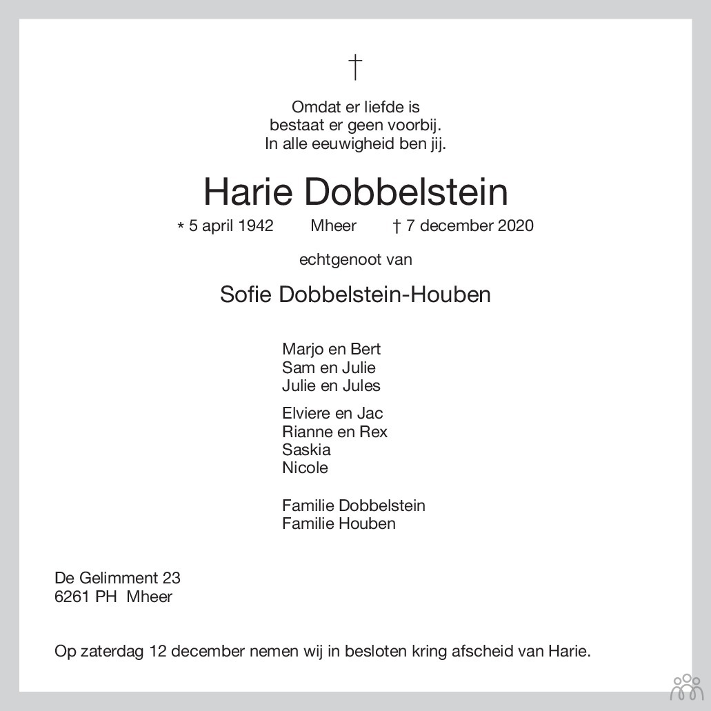 Overlijdensbericht van Harie Dobbelstein in De Limburger