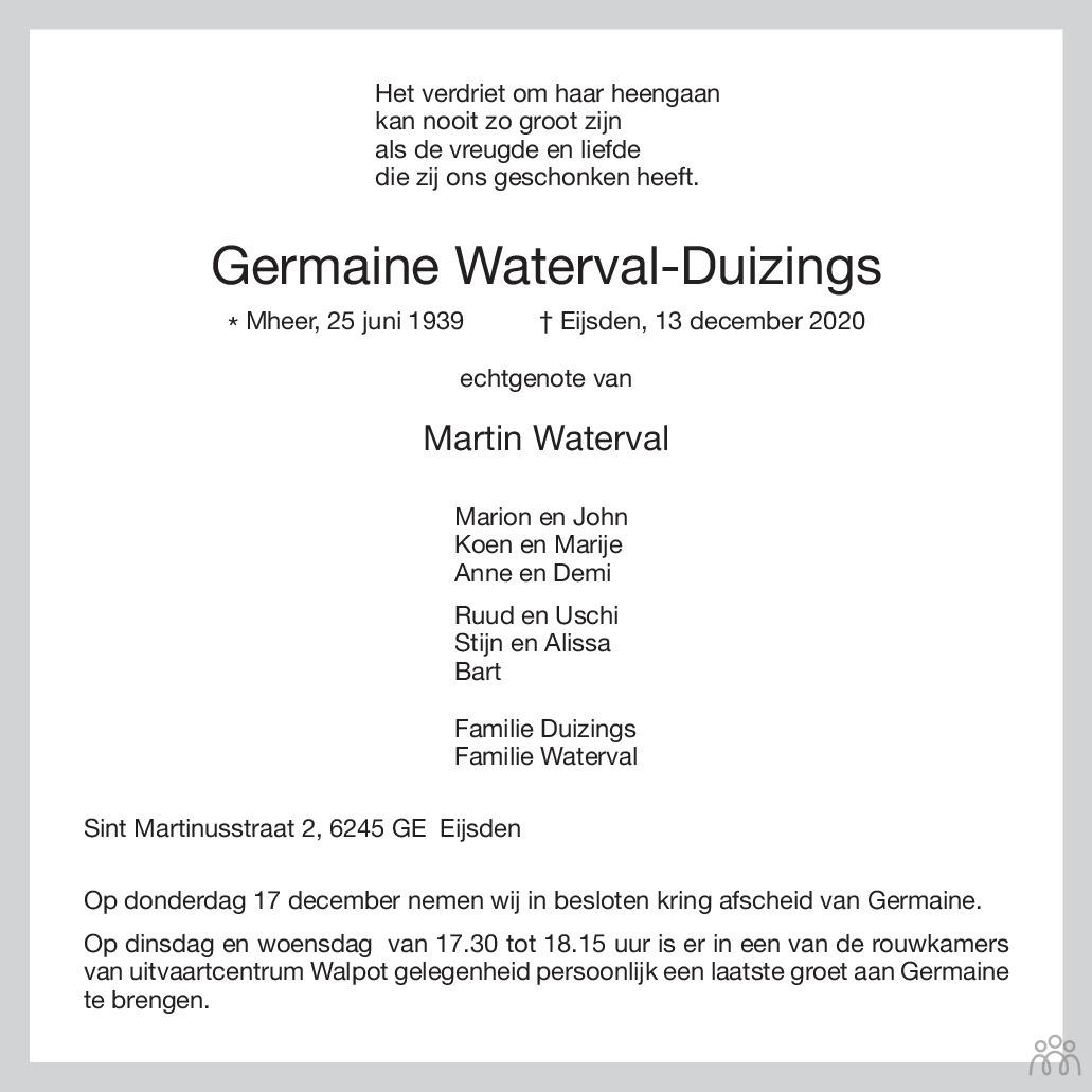 Overlijdensbericht van Germaine Waterval-Duizings in De Limburger