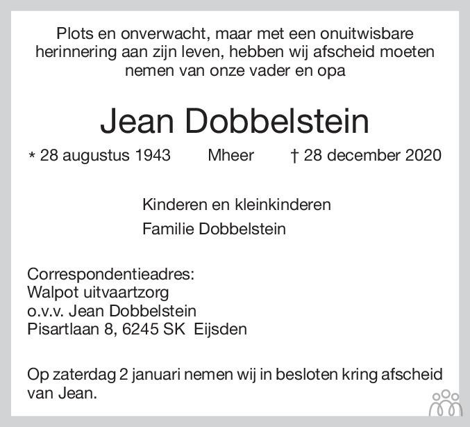 Overlijdensbericht van Jean Dobbelstein in De Limburger