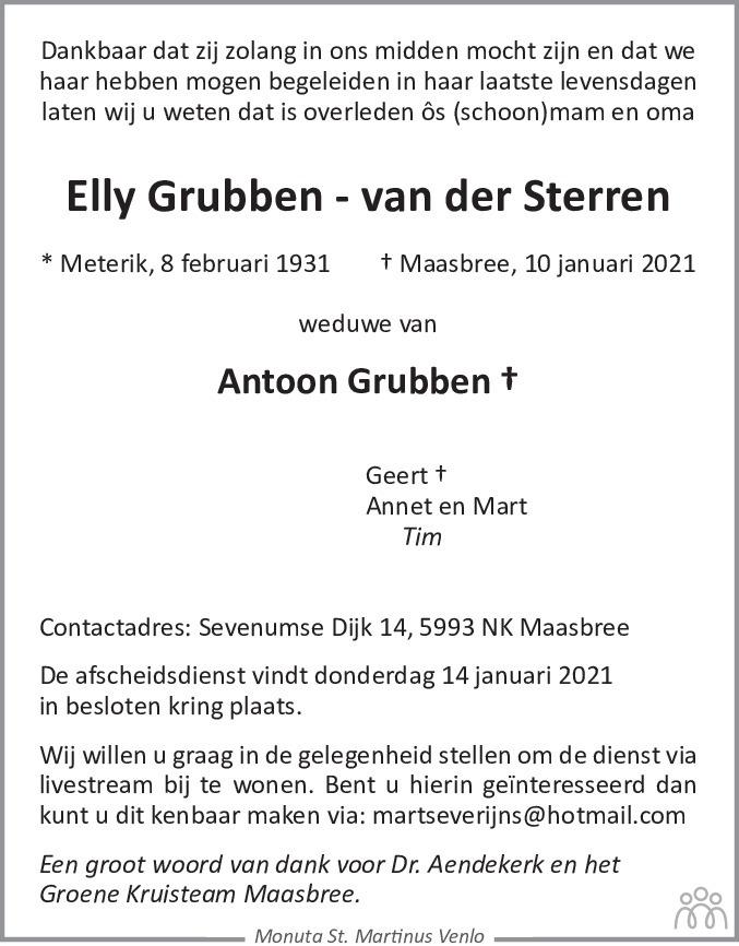 Overlijdensbericht van Elly Grubben-van der Sterren in De Limburger