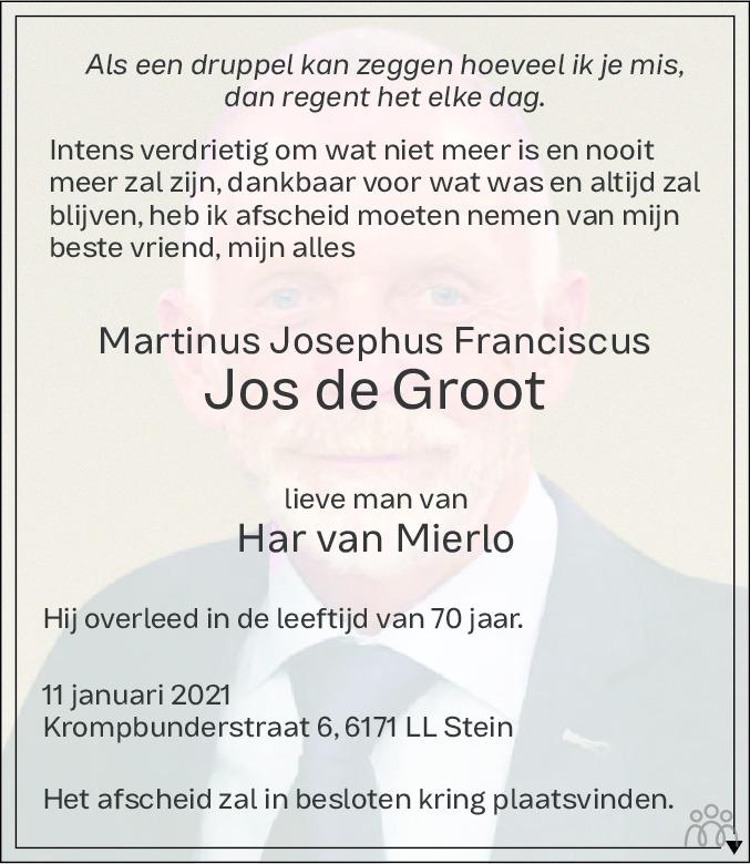 Overlijdensbericht van Martinus Josephus Franciscus (Jos) de Groot in De Limburger