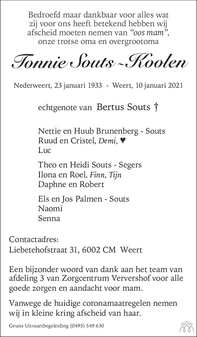 Overlijdensbericht van Tonnie Souts-Koolen in De Limburger
