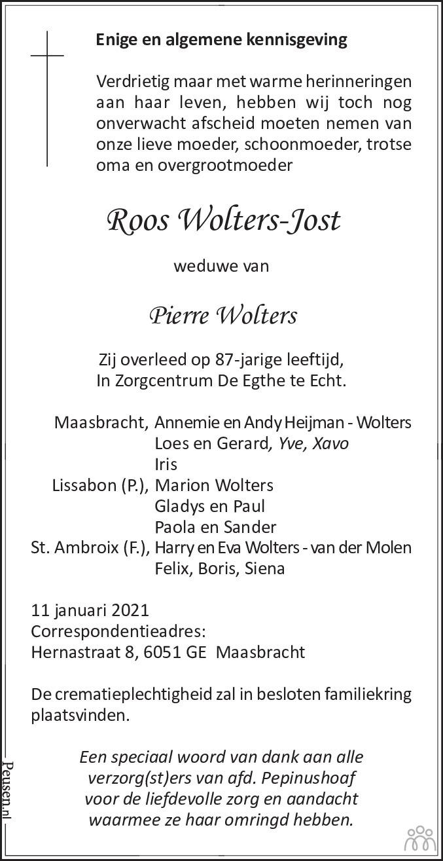 Overlijdensbericht van Roos Wolters-Jost in De Limburger