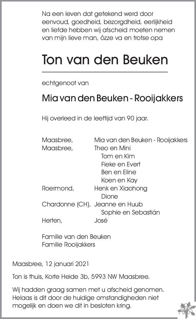 Overlijdensbericht van Ton van den Beuken in De Limburger