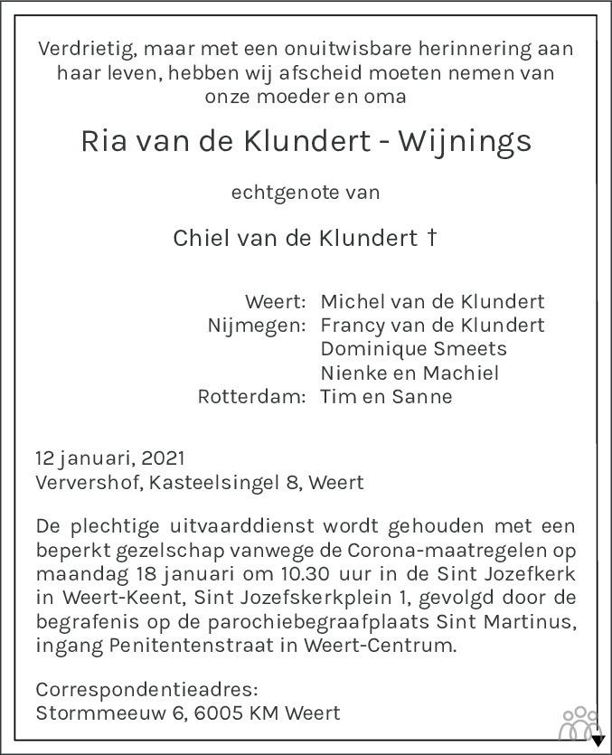 Overlijdensbericht van Ria van de Klundert-Wijnings in De Limburger