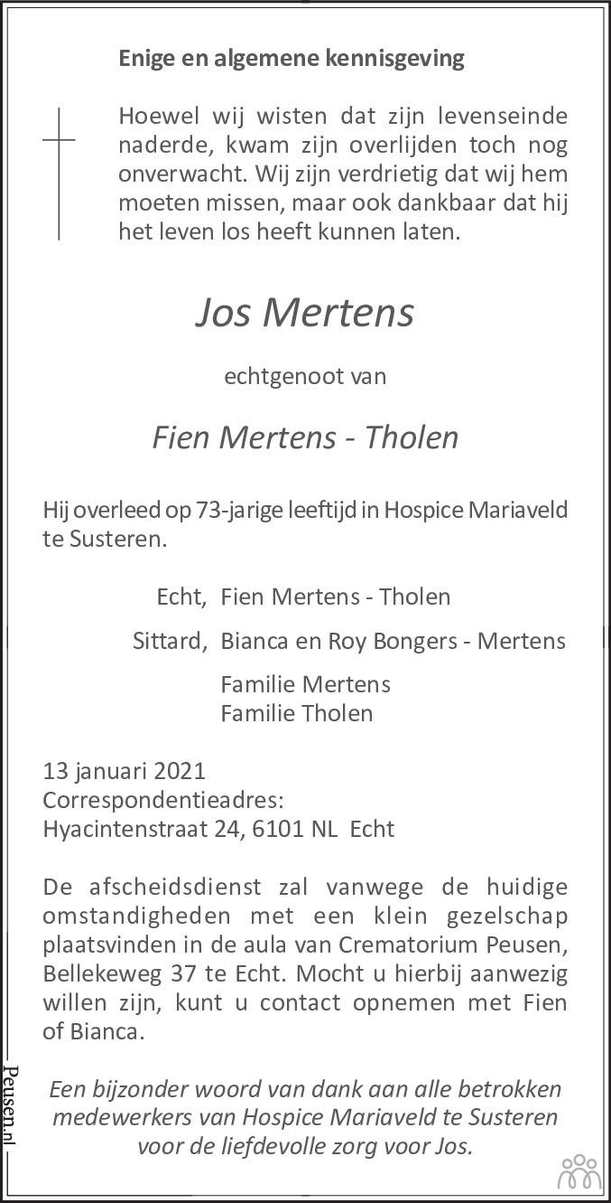 Overlijdensbericht van Jos Mertens in De Limburger