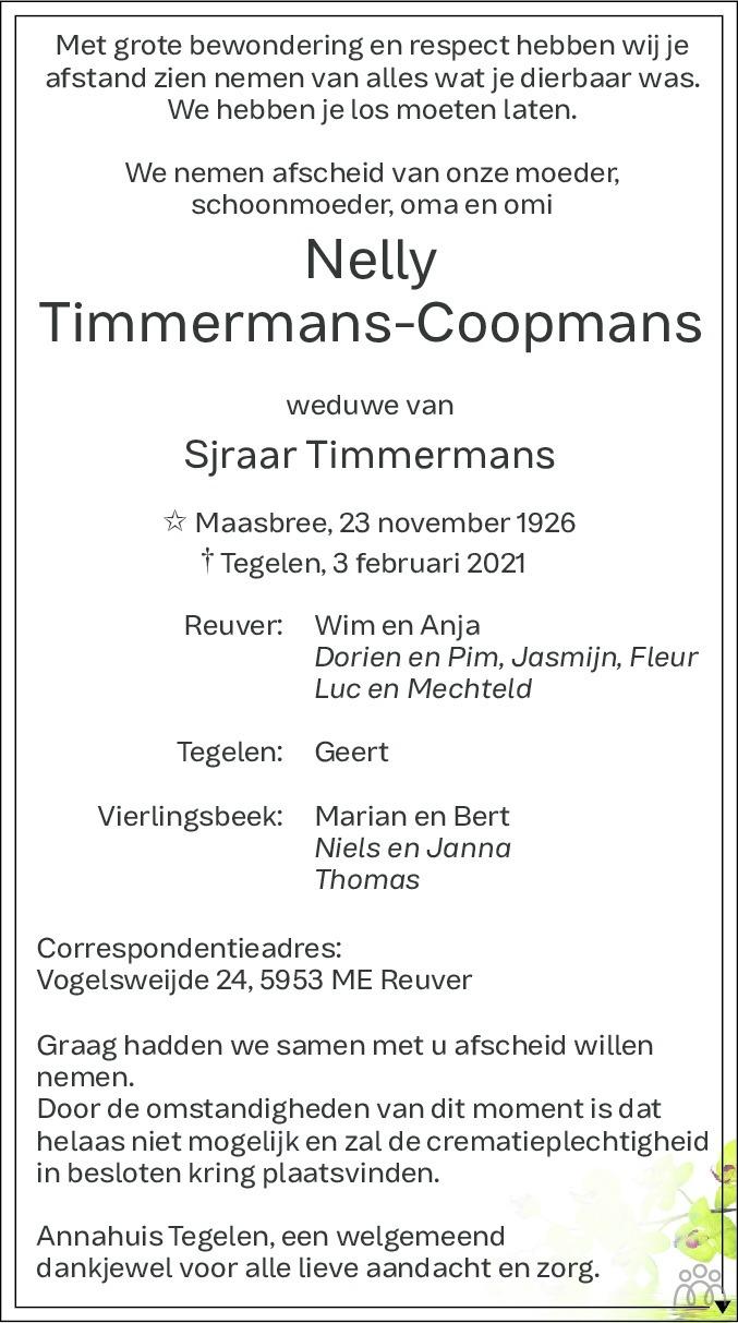 Overlijdensbericht van Nelly Timmermans-Coopmans in De Limburger