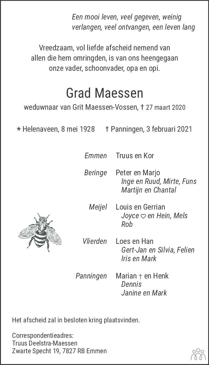 Overlijdensbericht van Grad Maessen in De Limburger