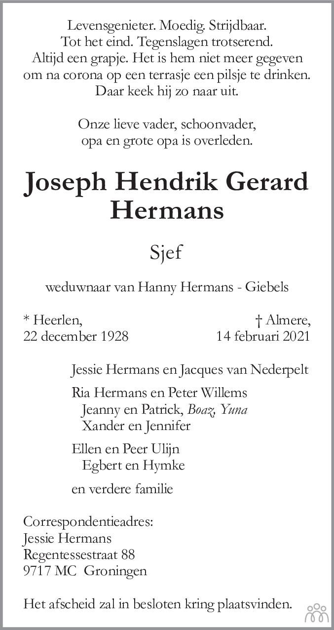 Overlijdensbericht van Joseph Hendrik Gerard (Sjef) Hermans in De Limburger