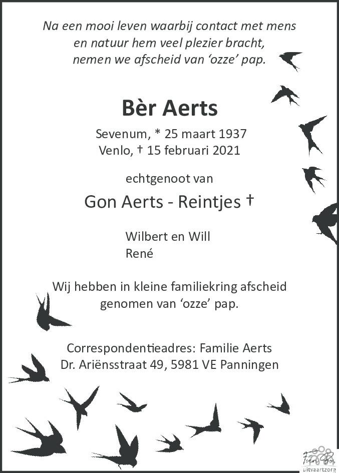 Overlijdensbericht van Bèr Aerts in De Limburger