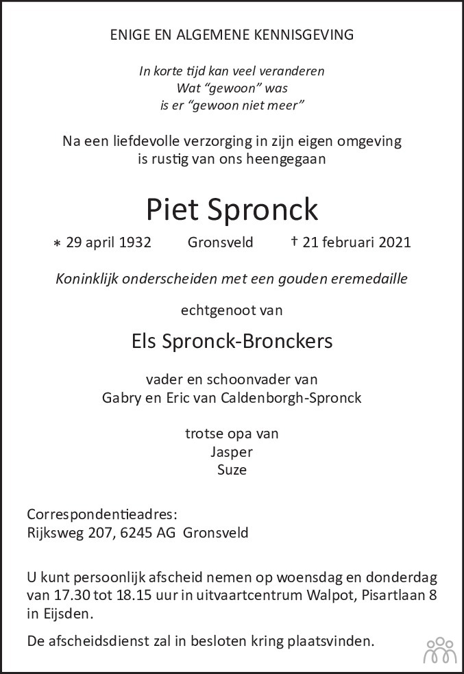 Overlijdensbericht van Piet Spronck in De Limburger