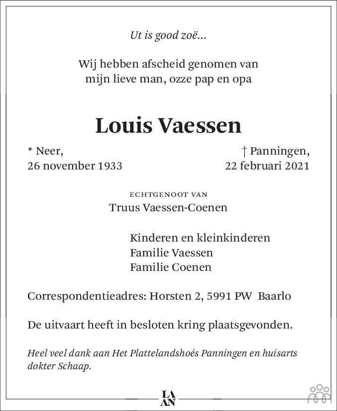 Overlijdensbericht van Louis Vaessen in De Limburger