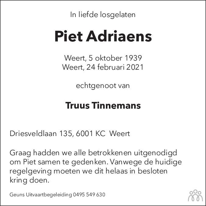Overlijdensbericht van Piet Adriaens in De Limburger