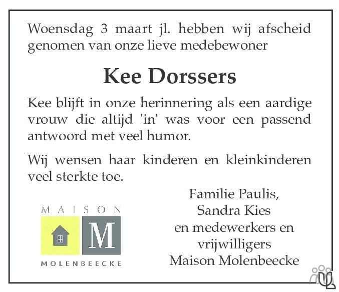 Overlijdensbericht van Kee Dorssers in De Limburger