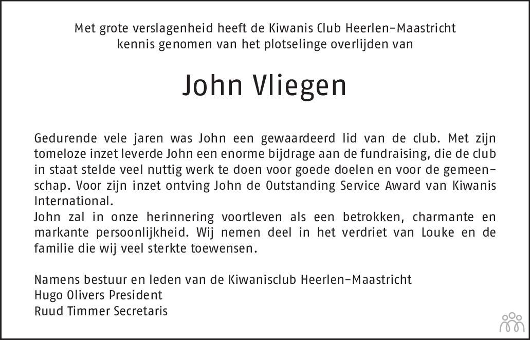 Overlijdensbericht van John Vliegen in De Limburger